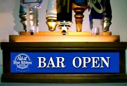 Pabst Beer Tap Handle Display Led Lighted Holds 7 Taps / Bar Sign Built In