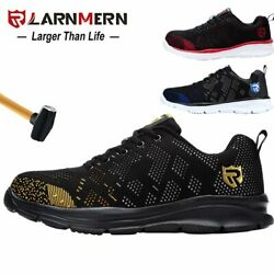 Larnmern Mens Steel Toe Safety Work Shoes Lightweight Breathable Anti-smashing