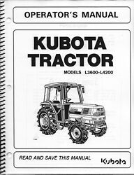 Kubota L3600 L4200 Tractor Operator Manual-cab Supplement Only