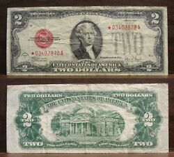 1928f 2 Legal Tender United States Star Note Red Seal Two Dollar Bill Circ. Vf
