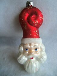 Vintage Ornament Hand Blown Large 4 And1/2 In Christmas Santa Mercury Glass Poland