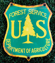 U.s. Forest Service Sign Porcelain Steel Gas And Oil Heavy
