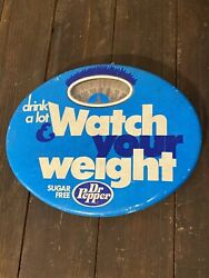 Sugar Free Dr Pepper Rare Metal Bathroom Scale 70s Retro Watch Your Weight Sign