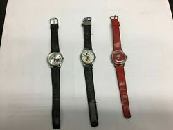 Lot Of 3 Vintage Disney Watches Backwards Goofy, Mickey Mouse, Snoopy