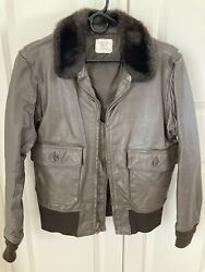 Vtg 80s Brill Bros G1 Usn Leather Flight Jacket Size 40 Made In Usa