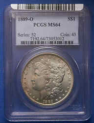 1889-o Morgan Silver Dollar Pcgs Ms 64 Old Blue Tag. Very Clean Surface