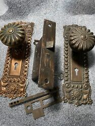 Antique Russel And Erwin Mortise Lock And Key Door Knobs Backplates Pat. Jan/29/1889