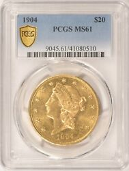 1904 20 Liberty Gold Double Eagle Pcgs Ms-61 Pre-1933 Gold