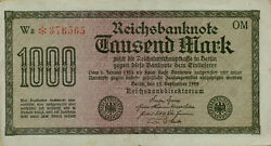 1922 Germany 1000 Marks P76g This Note Has Watermark J