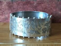 Antique 1893 Victorian Silver Ornate Floral Scroll And Ball Cuff Bracelet Bangle