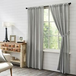 Vhc Burlap Dove Grey Farmhouse Country Cottage Window Curtain Panels