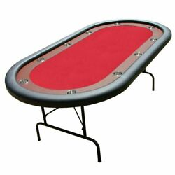 Brybelly 10-player Red Felt Poker Table 82x42 Dark Wood Racetrack, Cup Holders