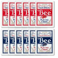 Bee 144 Pc Bulk Lot Wholesale Red/blue Diamond Back Playing Cards Standard Index