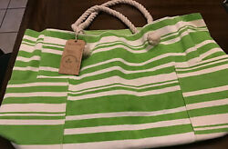 "Eco Line Beach bag Tote. 20""x14"".Green White Stripe. Pockets Outside. Lined.NWT $26.99"