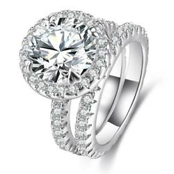 Women Halo Faceted Bridal Engagement Wedding Ring Rhodium Plated Cubic Zirconia