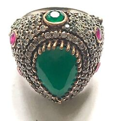 Jewels Of India Emerald Ruby Bronze Sterling Silver Vintage Ring