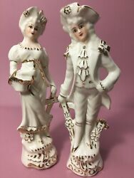 Vintage Collectible Ransgil China Figurines - Colonial Couple Gold Accents