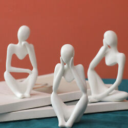 3pcs 13x8cm Resin Figurine Thinker Statue Collectible Thinking People Small