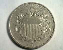1867 Rays Double Date Shield Nickel About Uncirculated Au Nice Original Coin