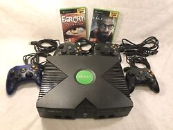 Original Xbox Console Bundle W/4 Original Controllerscords +2 Games Tested -