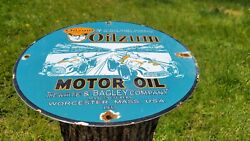 Vintage Dated 1937 Oilzum Motor Oil Gasoline Porcelain Enamel Gas Station Sign