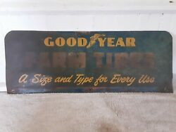 Rare Vintage Goodyear Farm Tires Metal Sign. Double Sided.