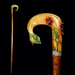 A Decorative Carved Floral Horn Walking Cane Stick C. 20th C.