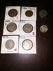 Us Coin Lot Buffalo Nickel And Indian Cent And 1960d Silver Dime