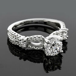 Vintage Infinity 1.33 Ct G Si1 Round Diamond Engagement Ring White Gold Enhanced