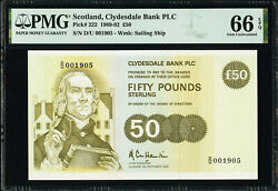 Scotland Clydesdale Bank Plc 50 Pounds 1989 Pick-222 Gem Unc Pmg 66 Epq