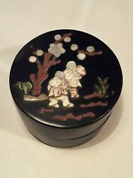 Antique Meiji Japanese Lacquer Box With Stone Bone And Mother-of-pearl Inlay