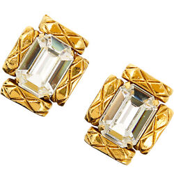 Auth Vintage Clip-on Earrings Gold Plating Matelasse Rectangle Woman