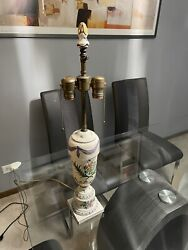 Beautiful Vintage Ceramic Lamp With Arrow Socket Hand Painted Floral Design