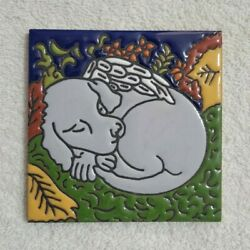 Glossy Raised Texture Angel Wings Dog Mexican Talavera Ceramic Tiles 4x4
