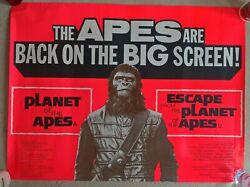 Planet Of The Apes Double Bill 1972 Original Uk Quad Cinema Poster.30 X 40