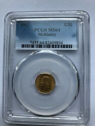 1917 Mckinley Gold One Dollar Commemorative Ms-64 Pcgs G1 Coin Km-144