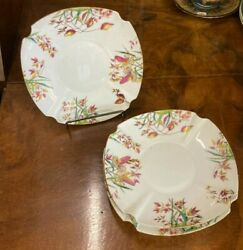Staffordshire T A amp; S Green Luncheon Plates Late 19th Century set of Four