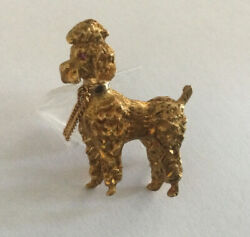 Antique Italian 18k Yellow Gold Poodle Pin/ Brooch Amazing
