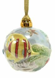 Value Arts Colorful Fish Vaco Porcelain Christmas Ornament, 3.25 Inches Diameter