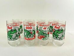 Budweiser Frog Glasses Set Of 8 1995 16 Oz Size Used Condition Original Box