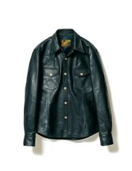 Yand0392 Leather Ss-13 Steer Oil Western Shirt Black - Size 40