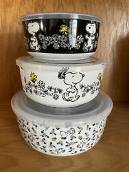 NEW Peanuts Snoopy Woodstock Daisy Ceramic Bowls Food Storage with Vent Lids