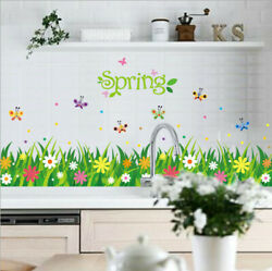 Removable Flowers Grasses Butterfly Wall Sticker Mural Wall Decal Home Decor DIY