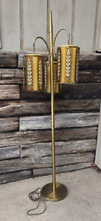Mid-century Lucite Hanging 3 Way Light Floor Lamp Yellow And Gold Mcm Vintage