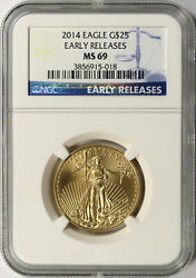 2014 25 American Gold Eagle 1/2 Oz Ngc Ms69 Early Releases