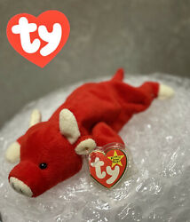 Ty Beanie Baby Snort Bull 1995 Retired, Style 4002 With Tag Errors