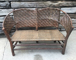 Antique Old Hickory Chair Co Martinsville Settee Bench Sturdy And Verified 106