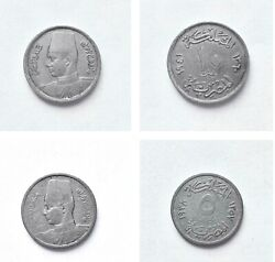 King Farouk 5 Milliemes 1938 And 10 Milliemes 1941 Egyptian Coins Very Good