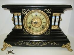 Antique Gilbert Thrush Adamantine Clock 8-day Time/bell And Gong Strike