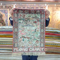 Yilong 1.5'x2' Handwoven Silk Area Rug Country Life Tapestry Home Carpet 095h
